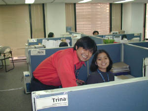 at trina's desk in EDCI